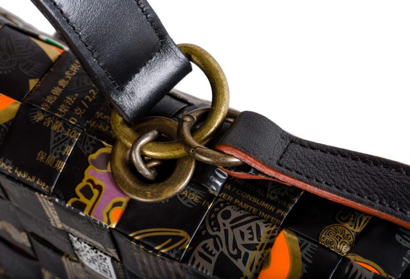 Meraky AROMA collection Shakerato convertible bag oro nero dettaglio