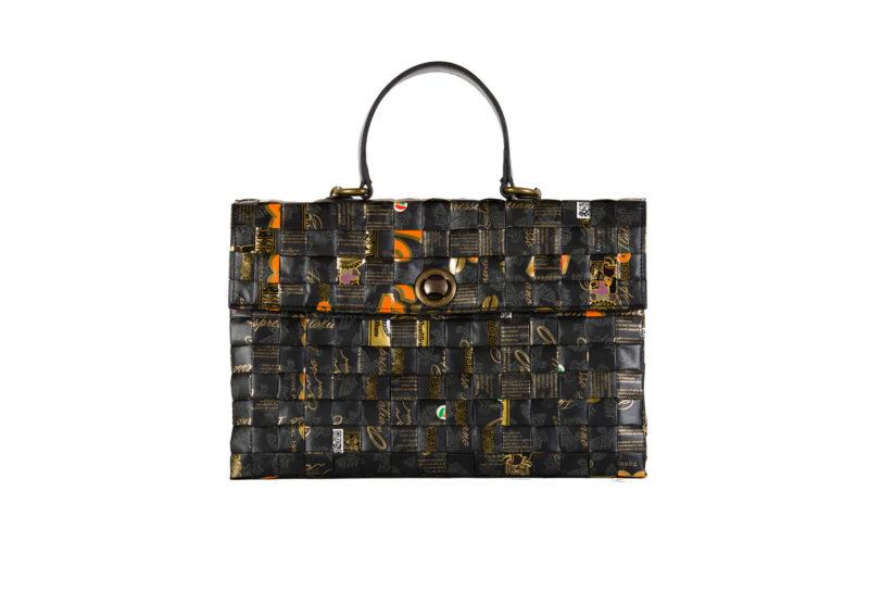 Meraky AROMA collection Shakerato convertible bag oro nero fronte