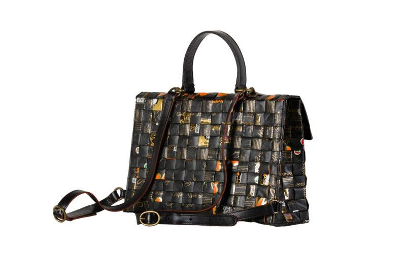 Meraky AROMA collection Shakerato convertible bag oro nero lato